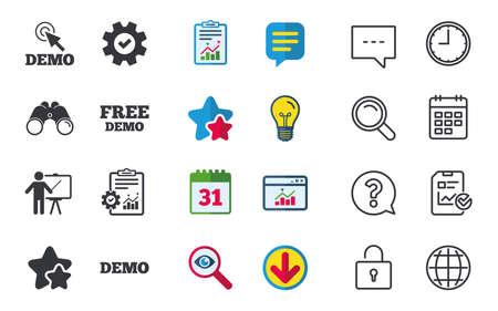 Demo met cursorpictogram. Presentatie billboard teken. Mens die zich met wijzersymbool bevindt. Chat-, rapport- en kalenderborden. Sterren, Statistieken en Download pictogrammen. Vraag, klok en wereld. Vector