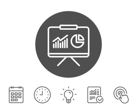 プレゼンテーション ボード ライン アイコン。グラフまたは売上成長の兆候を報告します。分析と統計データのシンボル。レポート、時計とカレン