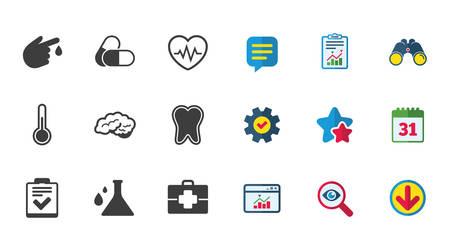 의학, 의료 및 진단 아이콘입니다. 치아, 환 약 및 의사 사례 표지판. 신경학, 혈액 검사 기호입니다. 달력,보고 및 다운로드 표지판. 별, 서비스 및 검색