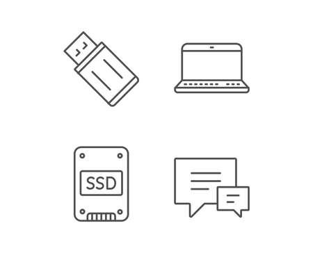 Disco SSD, USB Flash Drive e ícones da linha Notebook. Sinal de bolha de fala de conversa. Dispositivos de computador. Elementos de design de qualidade. AVC editável. Vetor Foto de archivo - 84954594