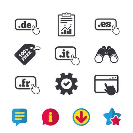 Top-level internet domein pictogrammen. De, It, Es en Fr symbolen met handaanwijzer. Unieke nationale DNS-namen. Browservenster, rapport en serviceborden. Verrekijker, informatie en download pictogrammen. Vector