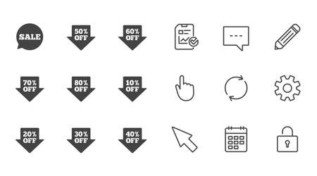 Sale discounts icons. Special offer signs. Shopping price tag symbols. Chat, Report and Calendar line signs. Service, Pencil and Locker icons. Click, Rotation and Cursor. Vector
