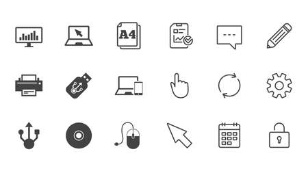 Computer devices icons. Printer, laptop signs. Smartphone, monitor and usb symbols. Chat, Report and Calendar line signs. Service, Pencil and Locker icons. Click, Rotation and Cursor. Vector