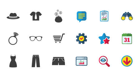 Clothes, accessories icons. Shirt, glasses and hat signs. Wallet with cash coins symbols. Calendar, Report and Download signs. Stars, Service and Search icons. Statistics, Binoculars and Chat. Vector Ilustrace