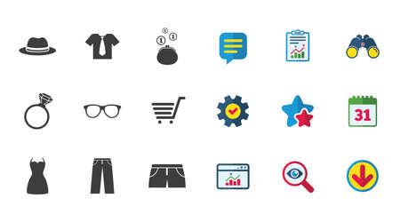 Kleding, accessoires pictogrammen. T-shirts, glazen en hoedentekens. Portemonnee met contant geld munten symbolen. Kalender, rapport en downloadborden. Pictogrammen voor sterren, service en zoeken. Statistieken, verrekijkers en chat. Vector