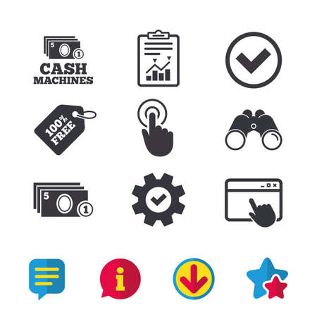 ATM cash machine withdrawal icons. Click here, check PIN number, processing and cash withdrawal symbols. Browser window, Report and Service signs. Binoculars, Information and Download icons. Vector Illustration