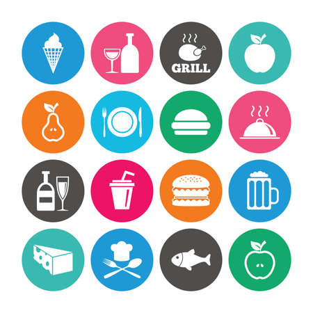 Set of Food and Drinks icons. Restaurant meal, Wine and Cheese signs. Burger, Milkshake and Beer symbols. Colored circle buttons with flat signs. Vector
