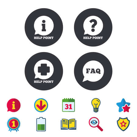 Help point icons. Question and information symbols. FAQ speech bubble signs. Calendar, Information and Download signs. Stars, Award and Book icons. Light bulb, Shield and Search. Vector