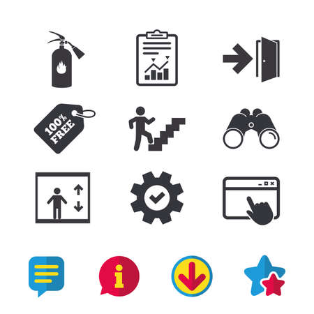 Emergency exit icons. Fire extinguisher sign. Elevator or lift symbol. Fire exit through the stairwell. Browser window, Report and Service signs. Binoculars, Information and Download icons. Vector Vettoriali
