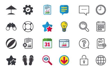 Beach holidays icons. Ball, umbrella and flip-flops sandals signs. Lifebuoy symbol. Chat, Report and Calendar signs. Stars, Statistics and Download icons. Question, Clock and Globe. Vector