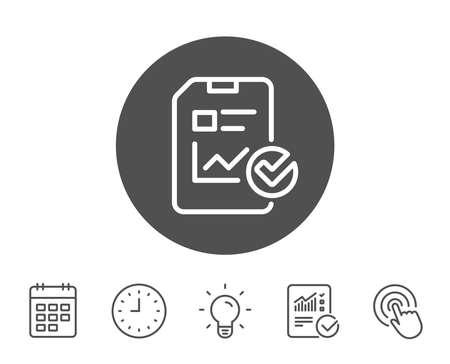 문서 라인 아이콘을보고하십시오. 분석 차트 또는 매출 성장보고 기호입니다. 통계 데이터 또는 검사 목록 기호. 보고서, 시계 및 캘린더 라인 표지판.  일러스트