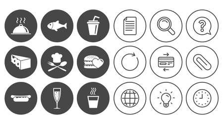 Essen, trinken Symbole. Alkohol-, Fisch- und Burgerzeichen. Hot-Dog, Käse und Restaurant Symbole. Dokument, Globus und Uhr Linienschilder. Lampe, Lupe und Büroklammerikonen. Frage, Kreditkarte und Aktualisieren Standard-Bild - 84954827
