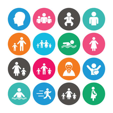 Set of People and Family icons. Swimming pool, Love and Children signs. Mother, Father and Pregnant woman symbols. Colored circle buttons with flat signs. Vector Illustration