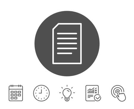 Document Management line icon. Information File sign. Paper page concept symbol. Report, Clock and Calendar line signs. Light bulb and Click icons. Editable stroke. Vector