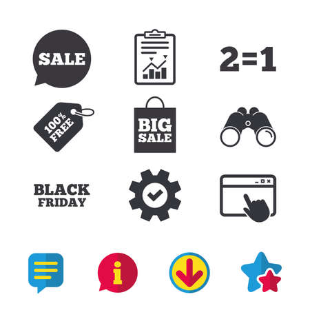 Sale speech bubble icons. Two equals one. Black friday sign. Big sale shopping bag symbol. Browser window, Report and Service signs. Binoculars, Information and Download icons. Stars and Chat. Vector Ilustração