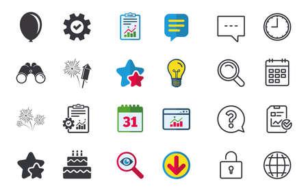 Verjaardag feest iconen. Taart en geschenkdoos tekenen. Luchtballon en vuurwerksymbool. Chat-, rapport- en kalenderborden. Sterren, Statistieken en Download pictogrammen. Vraag, klok en wereld. Vector