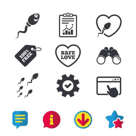 Sperm icons. Fertilization or insemination signs. Safe love heart symbol.