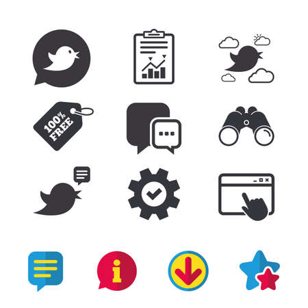 Birds icons. Social media speech bubble. Chat bubble with three dots symbol. Browser window, Report and Service signs. Binoculars, Information and Download icons. Stars and Chat. Vector