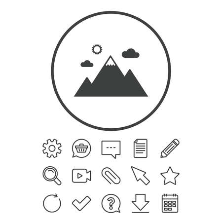Mountain icon. Mountaineering sport sign. Leadership motivation concept. Document, Chat and Paper clip line signs.