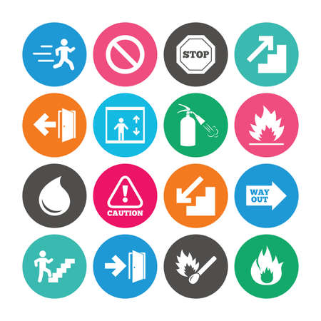 Set of Emergency, Fire safety and Protection icons. Extinguisher, Exit and Attention signs. Caution, Water drop and Way out symbols. Colored circle buttons with flat signs. Vector