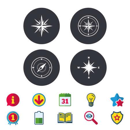 Iconos de navegación de Windrose. Símbolos de la brújula Signo del sistema de coordenadas Calendario, información y descarga de carteles. Foto de archivo - 84954349
