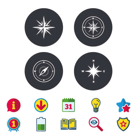 Windrose navigation icons. Compass symbols. Coordinate system sign. Calendar, Information and Download signs.