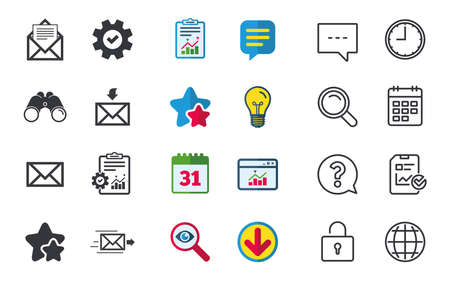 Mail envelope icons. Message document delivery symbol. Post office letter signs. Inbox and outbox message icons. Chat, Report and Calendar signs. Stars, Statistics and Download icons. Vector