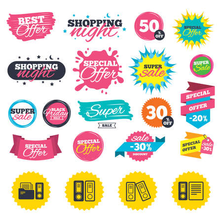 Sale shopping banners. Accounting icons. Document storage in folders sign symbols. Web badges, splash and stickers. Best offer. Vector
