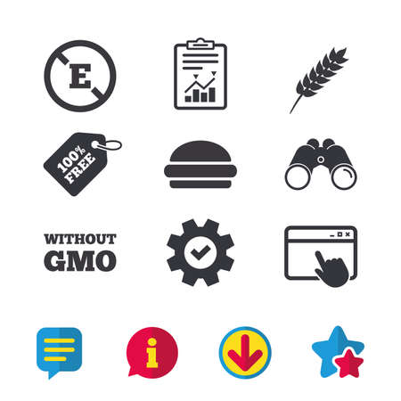 Food additive icon. Hamburger fast food sign. Gluten free and No GMO symbols. Without E acid stabilizers. Browser window, Report and Service signs. Binoculars, Information and Download icons. Vector