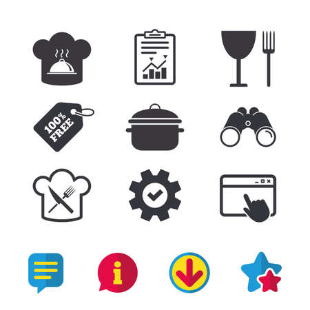 Chief hat and cooking pan icons. Crosswise fork and knife signs. Boil or stew food symbols. Browser window, Report and Service signs. Binoculars, Information and Download icons. Stars and Chat. Vector Illustration