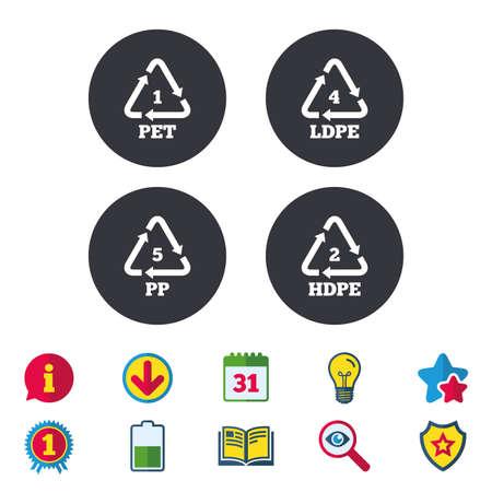 ペット 1、Ld pe 4、PP 5 および Hd-pe 2 アイコン。高密度ポリエチレン テレフタ レートの看板。リサイクルのシンボル。  イラスト・ベクター素材