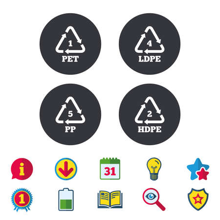 PET 1, Ld-pe 4, PP 5 and Hd-pe 2 icons. High-density Polyethylene terephthalate sign. Recycling symbol. Illustration