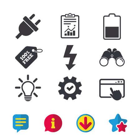 Stekkerpictogram. Lampje en batterij half symbolen. Weinig elektriciteit en ideetekens. Browservenster, rapport en serviceborden. Verrekijker, informatie en download pictogrammen. Sterren en chatten. Vector