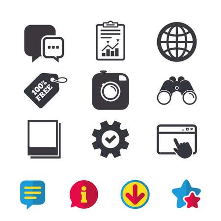 Social media icons. Chat speech bubble and world globe symbols. Hipster photo camera sign.