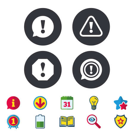 Attention icons. Exclamation speech bubble symbols. Caution signs. Calendar, Information and Download signs. Stars, Award and Book icons. Light bulb, Shield and Search. Vector