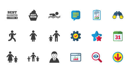 People, family icons. Swimming pool, person signs. Best mom, father and mother symbols. Calendar, Report and Download signs. Stars, Service and Search icons. Statistics, Binoculars and Chat. Vector Illustration