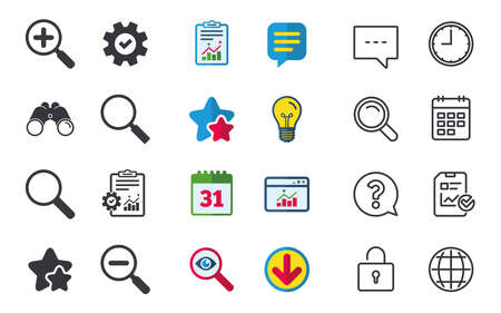 Magnifier glass icons. Plus and minus zoom tool symbols. Search information signs. Chat, Report and Calendar signs. Stars, Statistics and Download icons. Question, Clock and Globe. Vector
