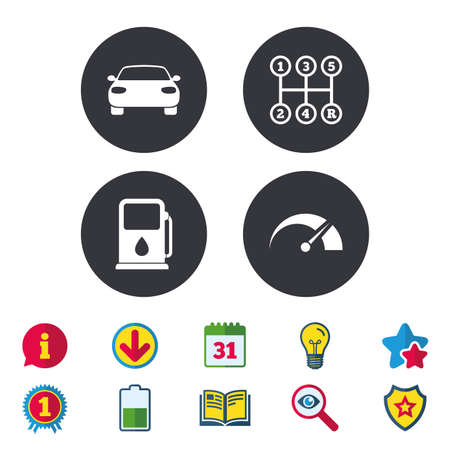 Transport icons. Car tachometer and manual transmission symbols. Petrol or Gas station sign. Calendar, Information and Download signs. Stars, Award and Book icons. Light bulb, Shield and Search