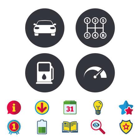 Vervoer pictogrammen. Autotachometer en symbolen voor handmatige verzending. Benzinestation of tankstation. Kalender, informatie en downloadborden. Pictogrammen voor sterren, awards en boeken. Gloeilamp, schild en zoeken Stockfoto - 84955142