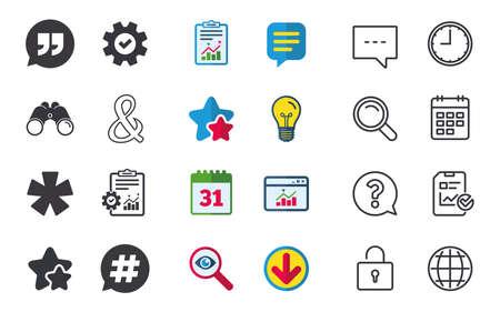 Citaat, asterisk voetnootpictogrammen. Hashtag sociale media en ampersand-symbolen. Logische operator EN teken programmeren. Spraak bubbel. Chat-, rapport- en kalenderborden. Sterren, Statistieken en Download pictogrammen Stockfoto - 84955143