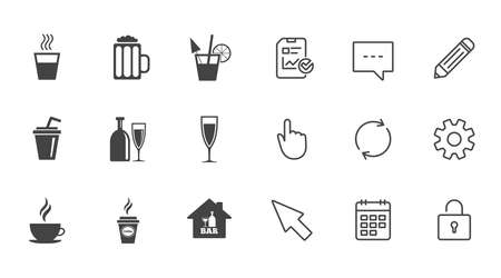 Cocktail, beer icons. Coffee and tea drinks. Soft and alcohol drinks symbols. Chat, Report and Calendar line signs. Service, Pencil and Locker icons. Click, Rotation and Cursor. Vector 向量圖像