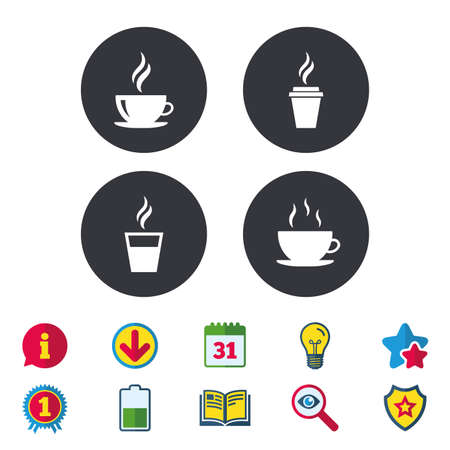 Coffee cup icon. Hot drinks glasses symbols. Take away or take-out tea beverage signs. Calendar, Information and Download signs. Stars, Award and Book icons. Light bulb, Shield and Search. Vector