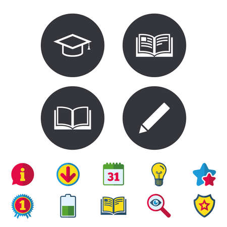 Pencil and open book icons. Graduation cap symbol. Higher education learn signs. Calendar, Information and Download signs. Stars, Award and Book icons. Light bulb, Shield and Search. Vector 向量圖像