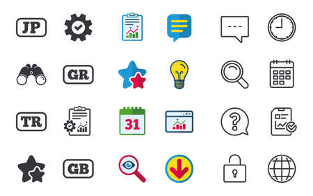 Language icons. JP, TR, GR and GB translation symbols. Japan, Turkey, Greece and England languages. Chat, Report and Calendar signs. Stars, Statistics and Download icons. Question, Clock and Globe Illustration