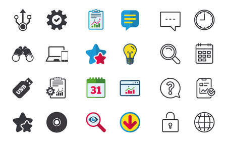 Usb flash drive icons. Notebook or Laptop pc symbols. Smartphone device. CD or DVD sign. Compact disc. Chat, Report and Calendar signs. Stars, Statistics and Download icons. Question, Clock and Globe Illustration