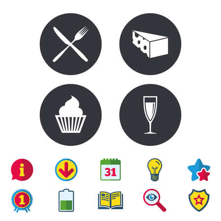 Food icons. Muffin cupcake symbol. Fork and knife sign. Glass of champagne or wine. Slice of cheese. Calendar, Information and Download signs. Stars, Award and Book icons. Vector