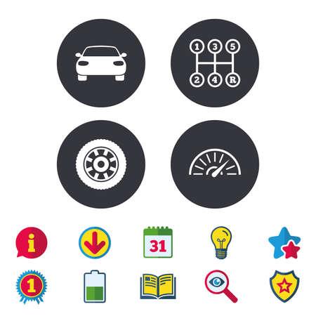 Vervoer pictogrammen. Autotachometer en mechanische transmissiesymbolen. Wielteken. Kalender, informatie en downloadborden. Pictogrammen voor sterren, awards en boeken. Gloeilamp, schild en zoeken. Vector