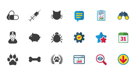 Veterinary, pets icons. Paw, syringe and bone signs. Pills, cat and doctor symbols. Calendar, Report and Download signs. Stars, Service and Search icons. Statistics, Binoculars and Chat. Vector