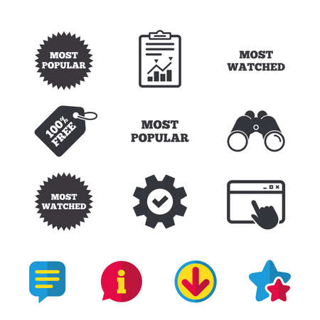 Most popular star icon. Most watched symbols. Clients or users choice signs. Browser window, Report and Service signs. Binoculars, Information and Download icons. Stars and Chat. Vector Illustration