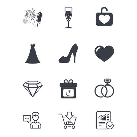 Wedding, engagement icons. Locker with heart, gift box and fireworks signs. Dress, heart and champagne glass symbols. Customer service, Shopping cart and Report line signs. Vector